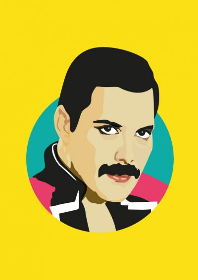 freddie Mercury illustration giclee print Sabi Koz yellow