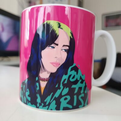 billie eilish pink mug Sabi Koz illustration