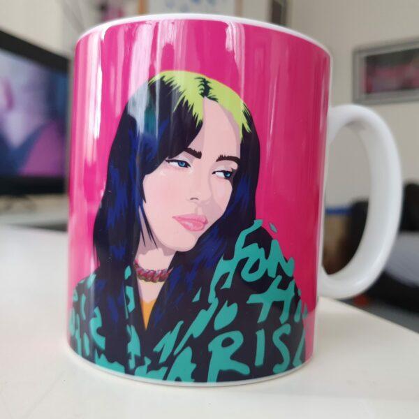billie eilish pink mug Sabi Koz illustration