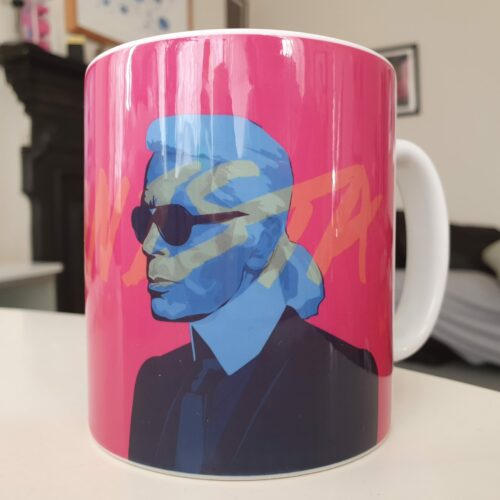 karl lagerfeld face portrait illustration mug pink