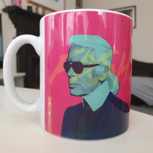 karl lagerfeld face portrait illustration mug pink