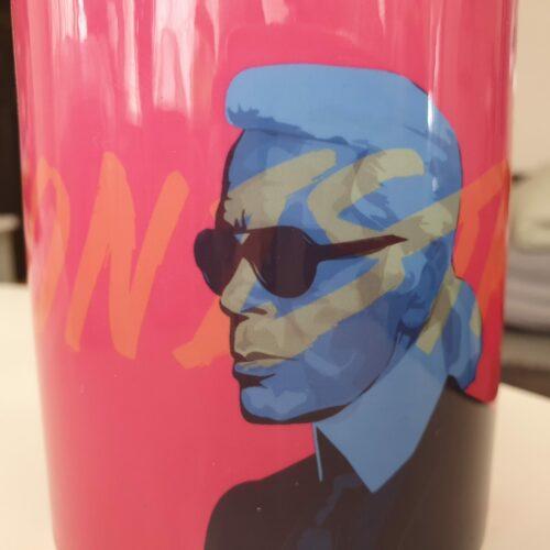 karl lagerfeld mug front blue