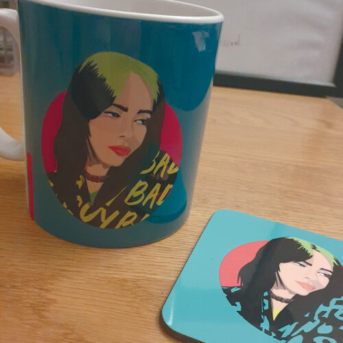 Billie Eilish Mug Green and Pink Mug Sabi Koz Gifts