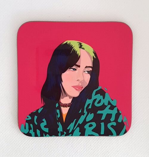 sabi koz music icon Billie Eilish coaster