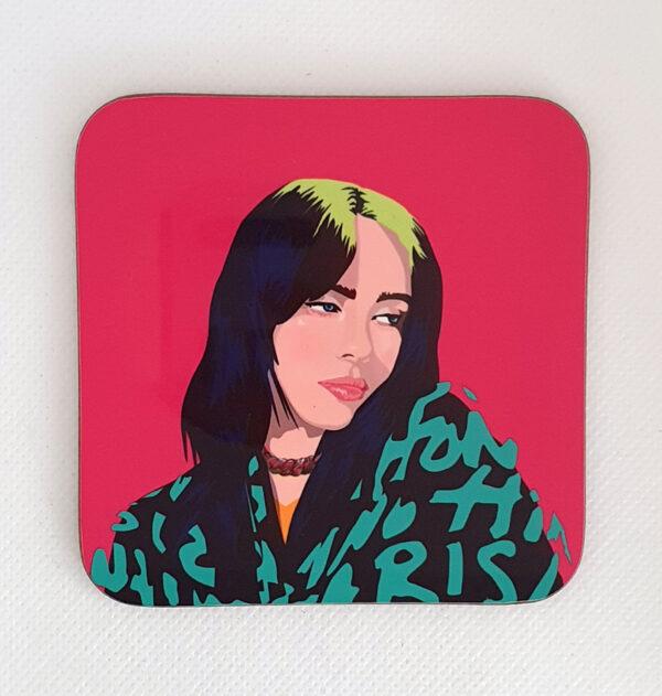 sabi koz music icon Billie Eilish coaster