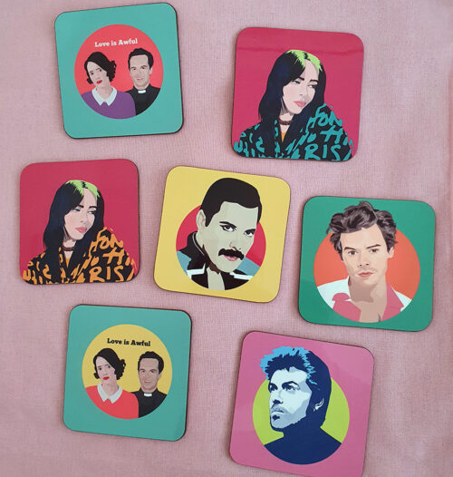 sabi koz music icon fleabag coaster set