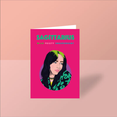 Billie Eilish Sagittarius greeting birthday card pink card