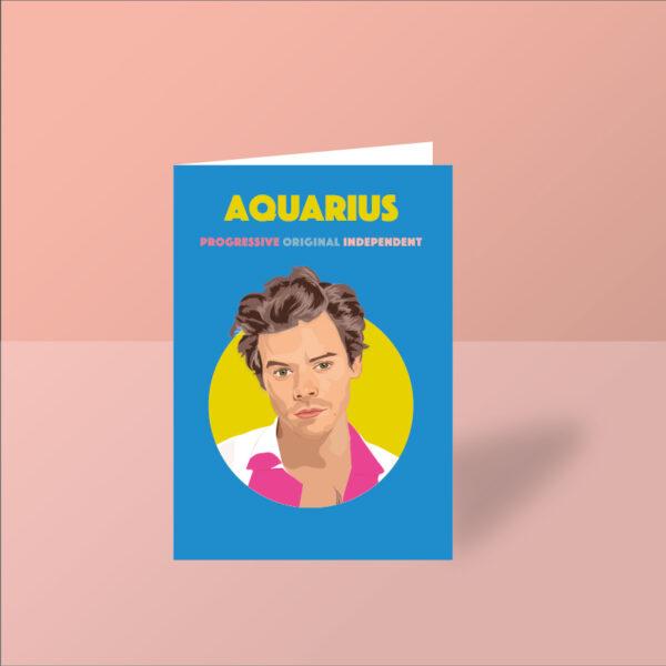 harry styles greeting card aquarius card aquarius starsign