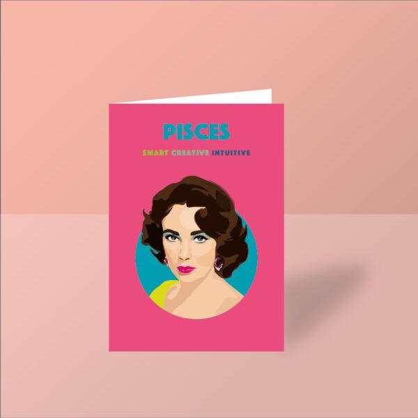 elizabeth taylor pisces card birthday card pisces starsign