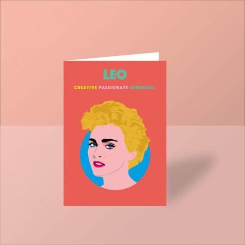 madonna greeting card leo starsign card