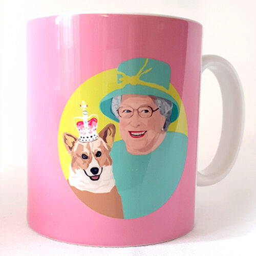 Queen elizabeth and Corgi mug pink Sabi Koz