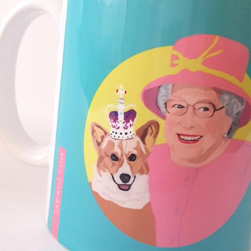 The Queen's Corgi Blue mug Sabi Koz