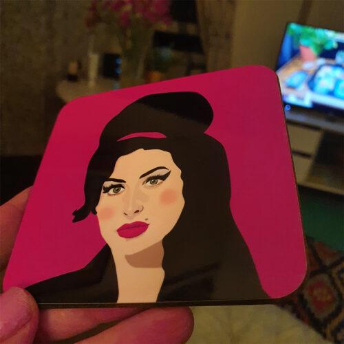 Sabi Koz Amy Winehouse Pink Coaster