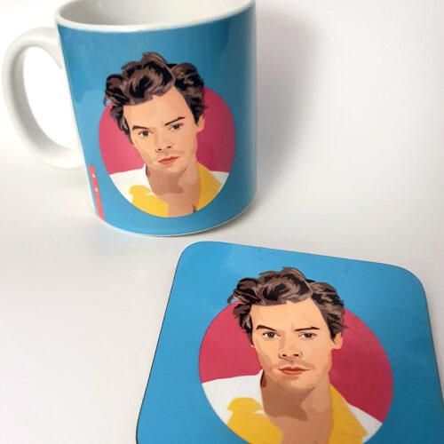 harry styles Gifts Blue mug and coaster