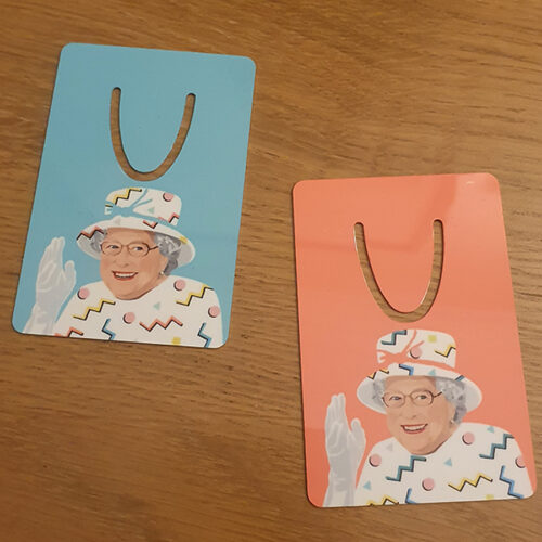 Queen Liz Bookmark by Sabi Koz - Queen Liz Bookmark Pink and blue Bookmark - Queen Liz